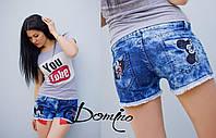 """Женские стильные джинсовые шорты """"микки"""" Турция. Арт-8095/39"""