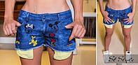 """Женские стильные джинсовые шорты """"горох"""" Турция. Арт-8096/39"""