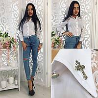 Женская стильная белая рубашка-боди  кружевными вставками. Арт-8100/39