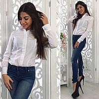 Женская стильная белая рубашка-боди  кружевными вставками. Арт-8101/39