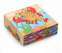 Деревянные кубики Морские животные, фото 1