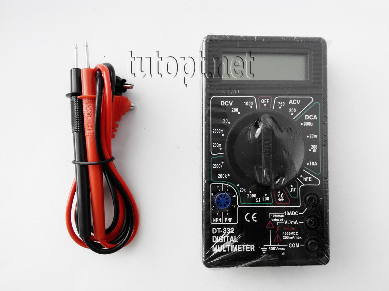 Мультиметр DT-832 (Тестер), типы измерений - DCV, АCV, DCA, АCA, Ом, Звуковая прозвонка.
