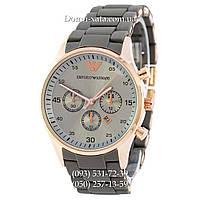 Мужские часы Emporio Armani gray-gold, элитные часы Эмпорио Армани серый-золото