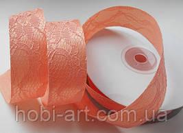 Стрічка атласна 2,5 см з кружевом № 02 персикова