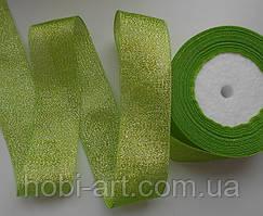 Стрічка парчева 40мм  №01 салатова
