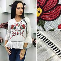 Женская летняя белая свободная блуза с вышивкой на груди, пр-во Турция. Арт-8106/39