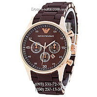 Мужские часы Emporio Armani brown-gold, элитные часы Эмпорио Армани коричневый-золото