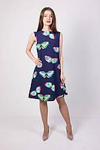 Молодежное летнее платье синее с бабочками из хлопка