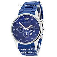 Мужские часы Emporio Armani blue-silver, элитные часы Эмпорио Армани синий-серебро