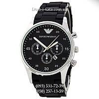 Мужские часы Emporio Armani black-silver, элитные часы Эмпорио Армани черный-серебро