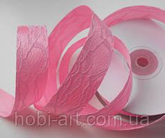 Стрічка атласна 2,5 см з кружевом № 01 блідо рожева