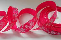 Стрічка атласна 25 мм з візерунком №10 яскраво рожева