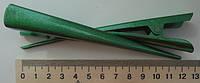 """Заколка """"Стріла"""" зелена  дрібно-перламутрова 12см."""