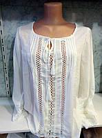 Женская летняя белая блуза с кружевными вставками, пр-во Турция. Арт-8108/39