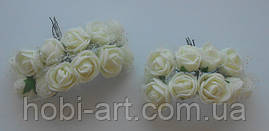 Троянда кремова з фатином (SV-761) 12шт