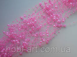 Буси 3-8 мм на леске 1,3м  №  02 яскраво-рожеві