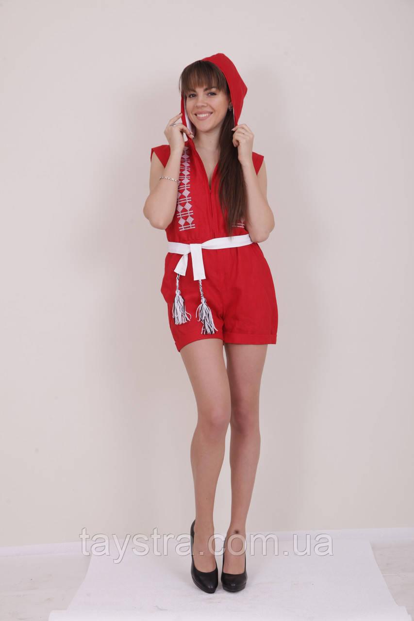 Комбинезон с капюшоном и вышивкой в Бохо-стиле (вишиванка)