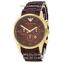 Часы элитные мужские Emporio Armani brown-gold, Эмпорио Армани коричневый-золото, реплика, отличное качество!