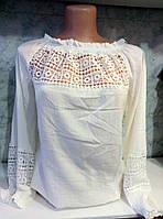 Женская летняя белая блуза с кружевными вставками, пр-во Турция. Арт-8110/39