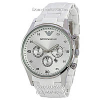 Мужские часы Emporio Armani white-silver, элитные часы Эмпорио Армани белый-серебро