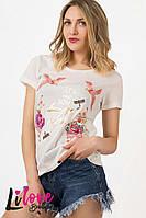 Женская летняя светлая футболка с вышивкой, пр-во Турция. Арт-8111/39