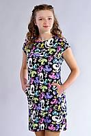 Стильное подростковое платье с принтом Микки Маус. Размер 146-158