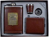 Подарочный набор 4 в 1: фляга/стопка/лейка/пепельница