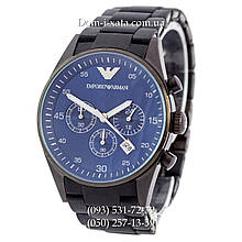 Мужские часы Emporio Armani black-blue копия AAA, элитные часы Эмпорио Армани черный-синий, реплика