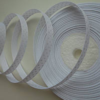 Стрічка репсова 9 мм  в горошок №02  біла в білий горох