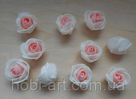 Бутони троянди 30 мм  № 04 (білий+світло-рожевий)