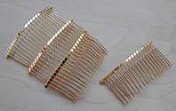 Гребінець металевий золотистий