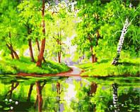 "Картина по номерам ""Озеро в лесу""  40 х 50 см"