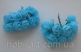 Троянда блакитна з фатином (SV-755) 12шт