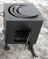 Печь под казан с конфорками на ножках сталь 4 мм