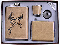Подарочный набор с флягой 4 в 1: фляга/стопка/лейка/портсигар