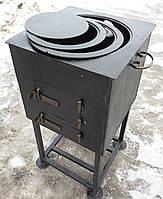 Печь под казан с конфорками на дровнице сталь 4 мм