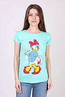 Бирюзовая летняя футболка из хлопка