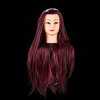 Голова для причесок и отработки навыков плетения 85 см, бардовая