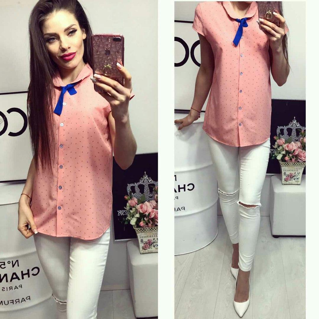Рубашка короткий рукав (781) лепесточек цвет нежно розовый
