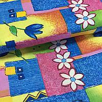 Ткань с тюльпанами на разноцветных квадратах, фото 1