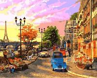 Рисование по цифрам Турбо Улочки Парижа (VP644) худ. Доминик Дэвидсон 40 х 50 см
