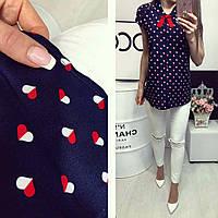 Рубашка короткий рукав (781) в сердечко цвет темно синий