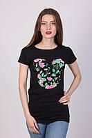 Хлопковая футболка в черном цвете для девушек