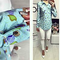 Блузка длинный рукав с веселым принтом цвет голубой
