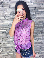 Женская модная шифоновая блуза безрукавка (6 цветов)
