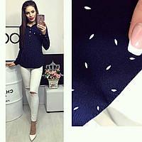 Блузка длинный рукав с принтом лепесток цвет синий