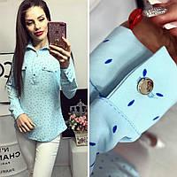 Блузка длинный рукав с принтом лепесток цвет голубой