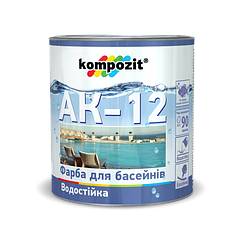 Краска для бассейнов Kompozit АК-12 0,9кг (Голубой)