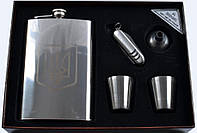 Подарочный набор 5 в 1: фляга/стопки/лейка/нож