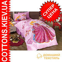 Детское полуторное сатиновое постельное белье Принцесса